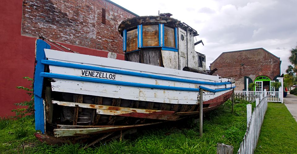 Old, rotting oyster boat, Apalachicola FL.