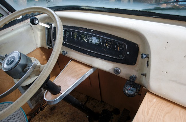 interior dashboard and console of 1969 dodge travco photographed by luxagraf