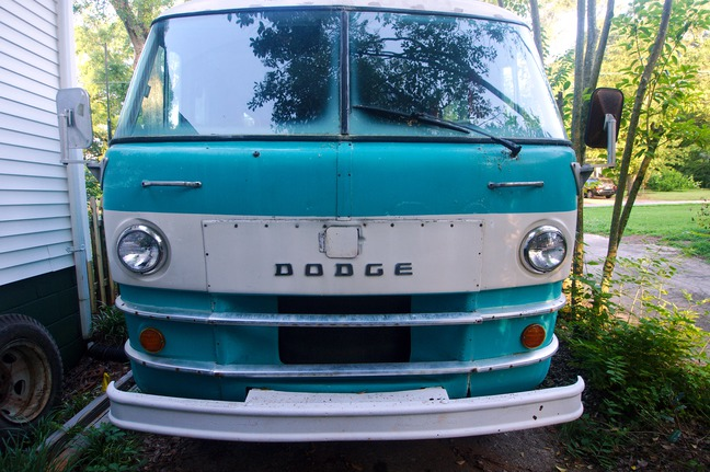 Front view of 1969 Dodge Travco RV photographed by luxagraf