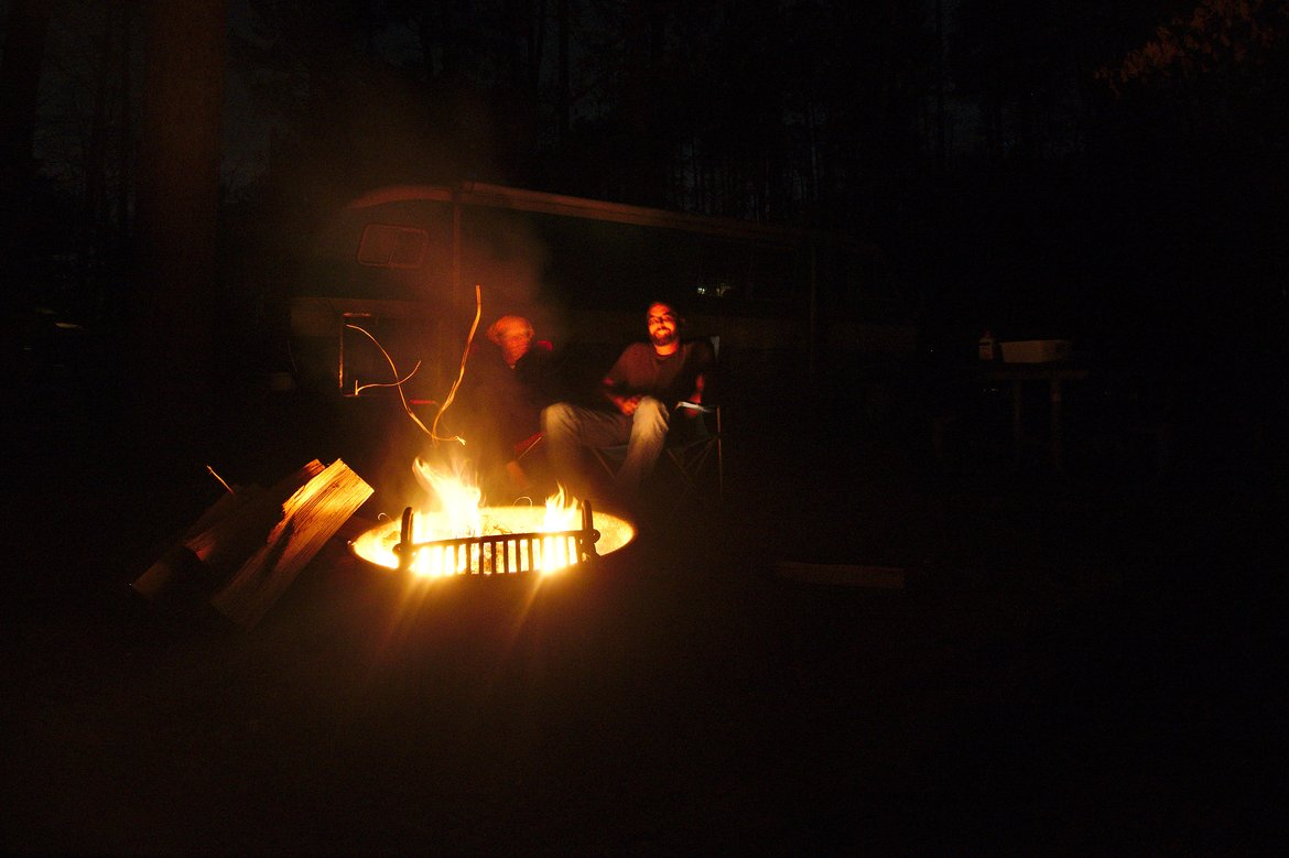 campfire photographed by luxagraf