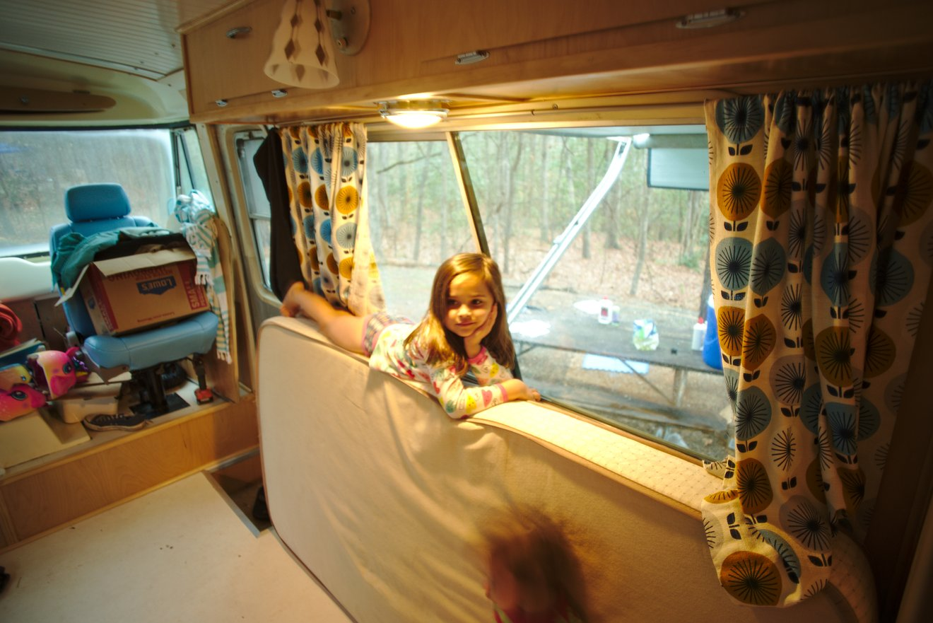 Livy in half finished bus photographed by luxagraf