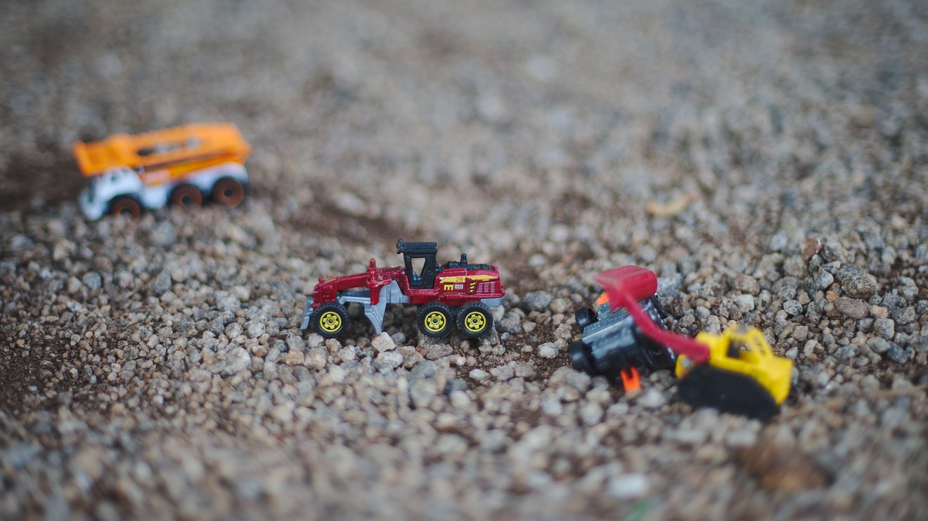 toy trucks photographed by luxagraf