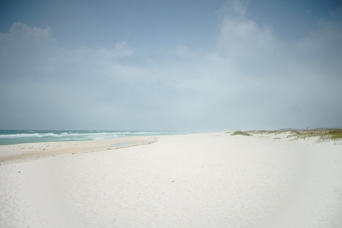 Empty beach at gulf islands national seashore photographed by luxagraf