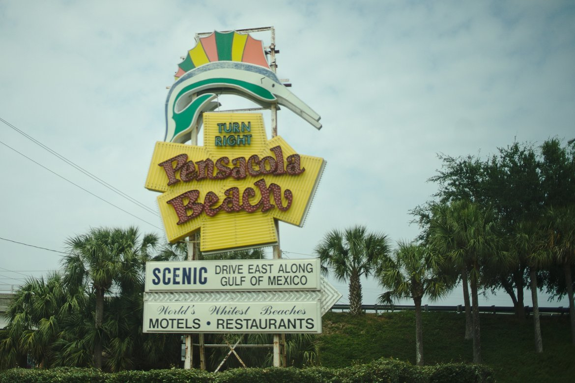 1970s style sign for pensacola beach, FL photographed by luxagraf