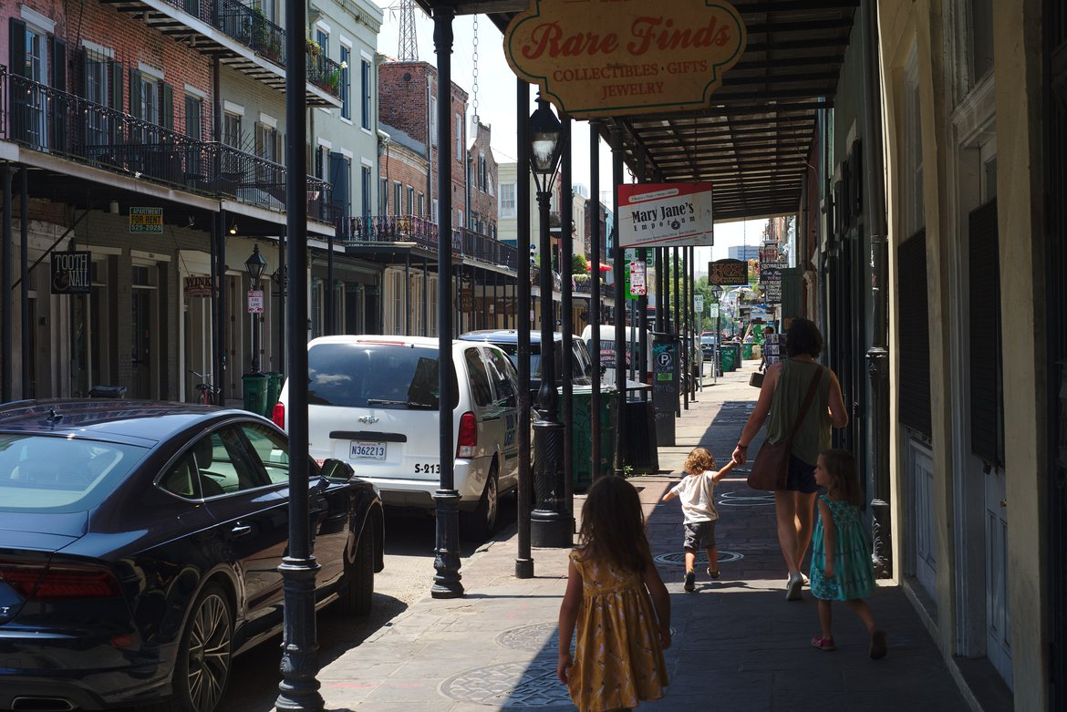 Walking Decatur st new orleans photographed by luxagraf