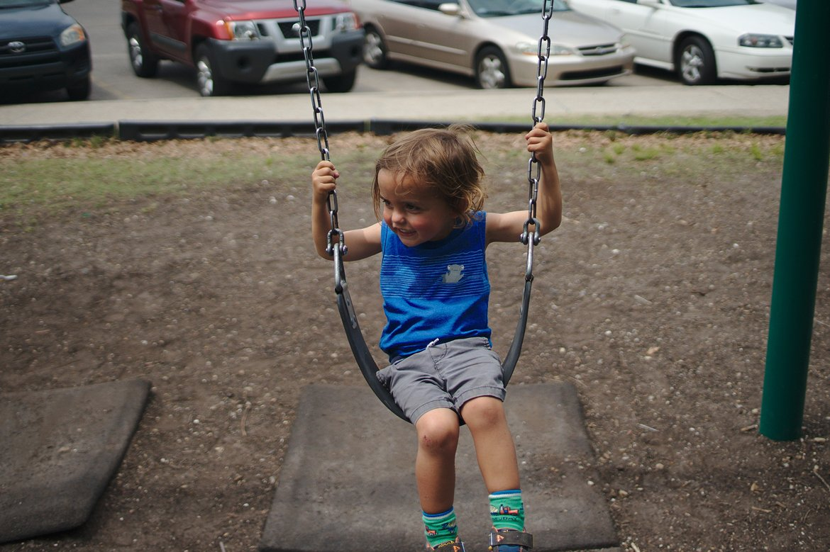 Swings in City Park, New Orleans photographed by luxagraf