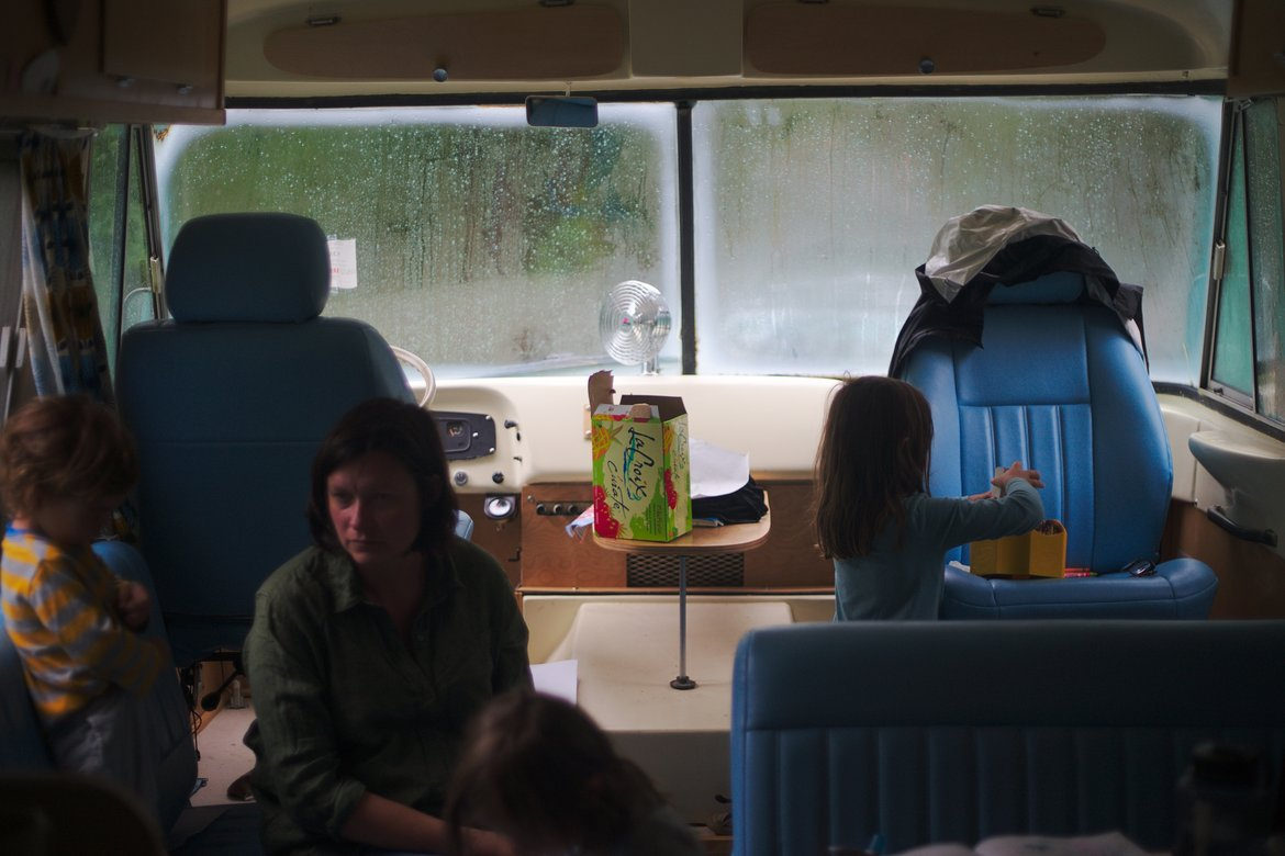 inside the bus in a storm, huntsville, tx photographed by luxagraf