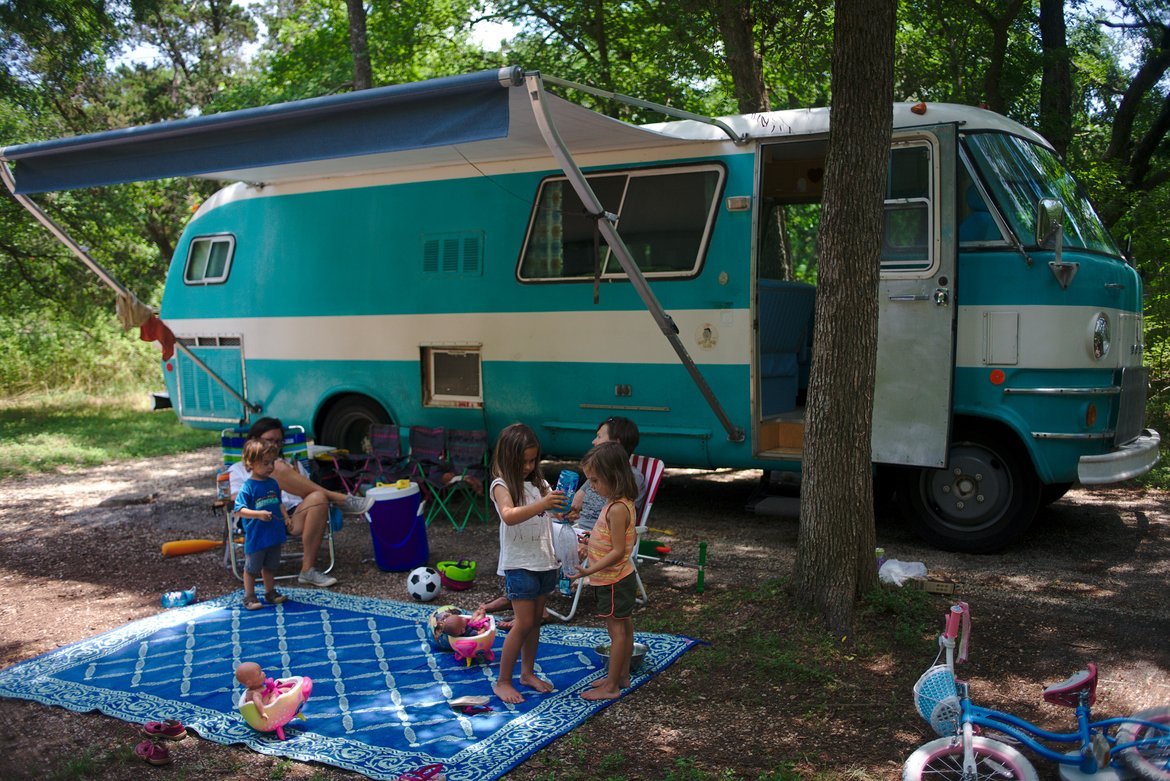 1969 dodge travco, mckinney falls campground photographed by luxagraf