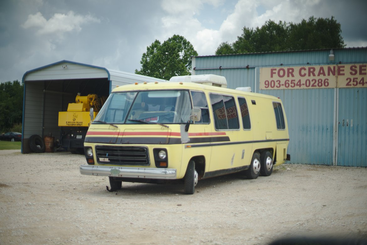 vintge GMC motorhome photographed by luxagraf