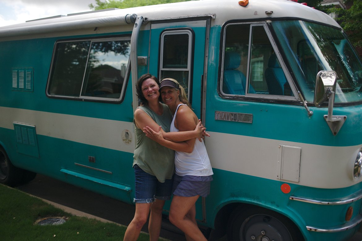 sisters in front of bus, plano, tx photographed by luxagraf