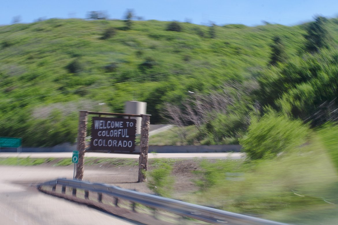Welcome to Colorado sign photographed by luxagraf