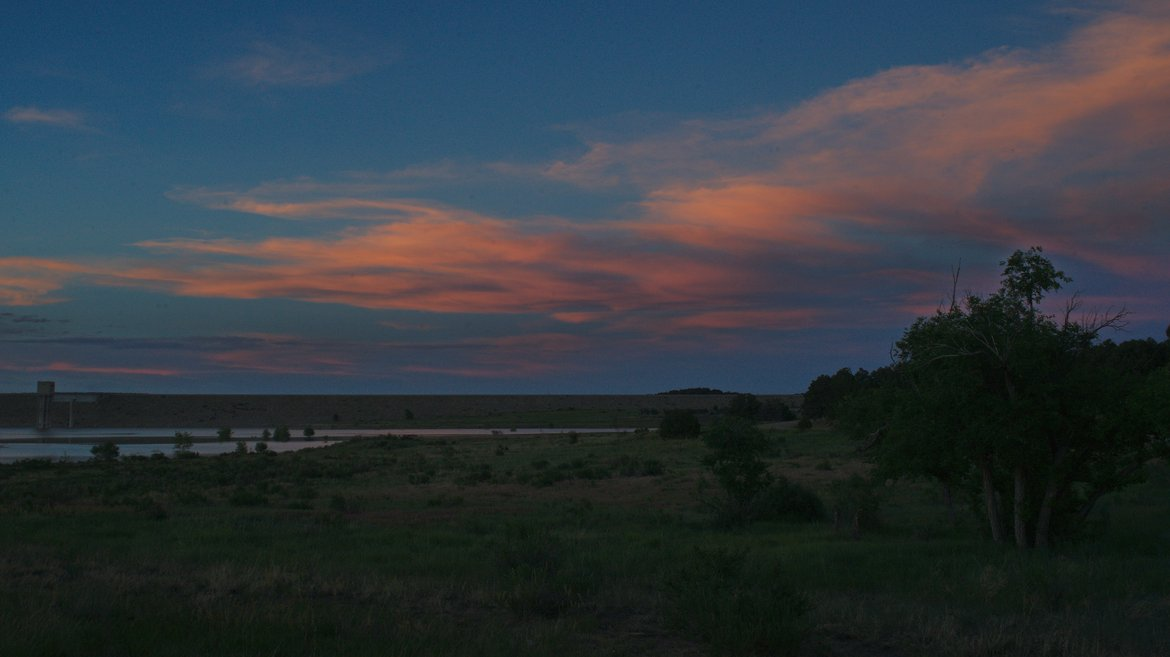 Sunset over the lake, trinidad, co photographed by luxagraf