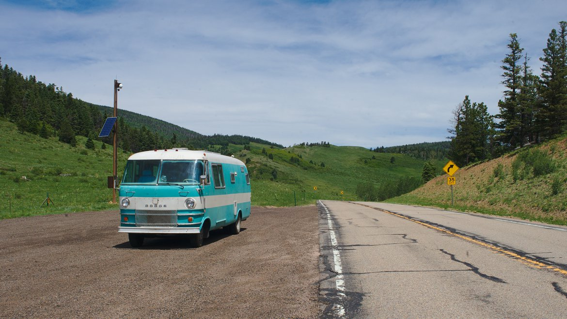 1969 dodge travco, pull out, somewhere in the Sangre de Christo mountains photographed by luxagraf