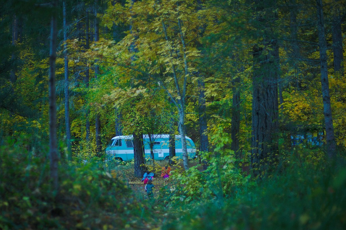 the bus through the trees. photographed by luxagraf