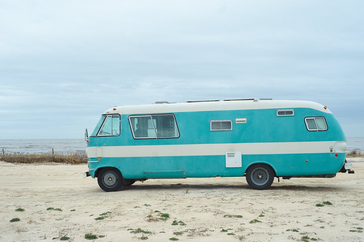 The bus on rutherford beach photographed by luxagraf