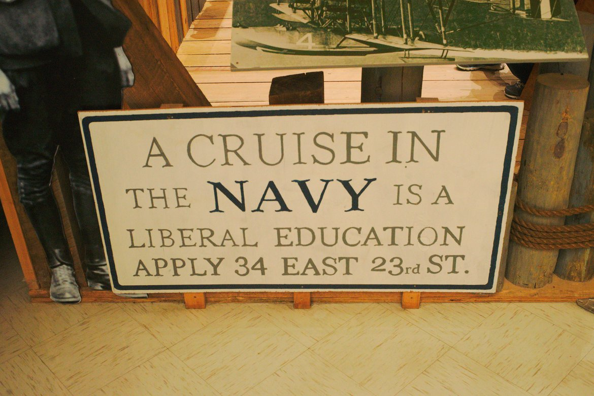 Navy recruitment sign, 1920s photographed by luxagraf