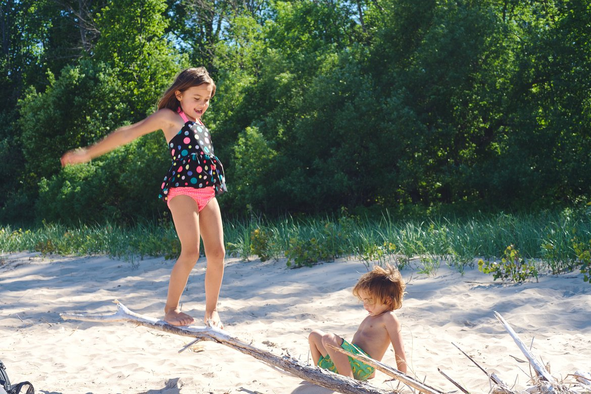 Playing at Lake Michigan, Harrington Beach State Park, WI photographed by luxagraf
