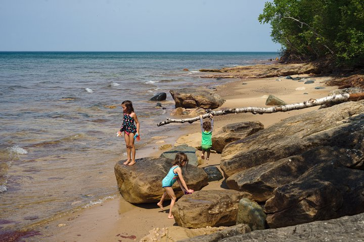 Playing in Lake Superior, Pictured Rocks National Lakeshore, MI photographed by luxagraf