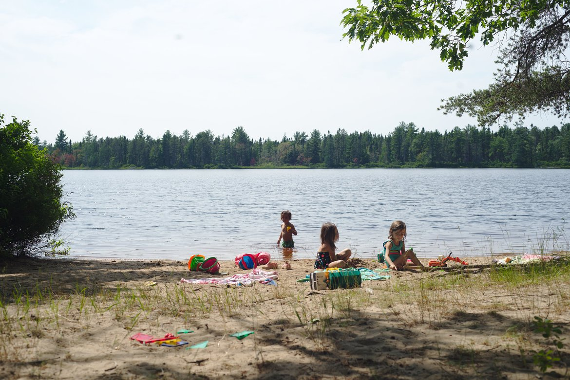 swimming at Andrus Lake, MI photographed by luxagraf