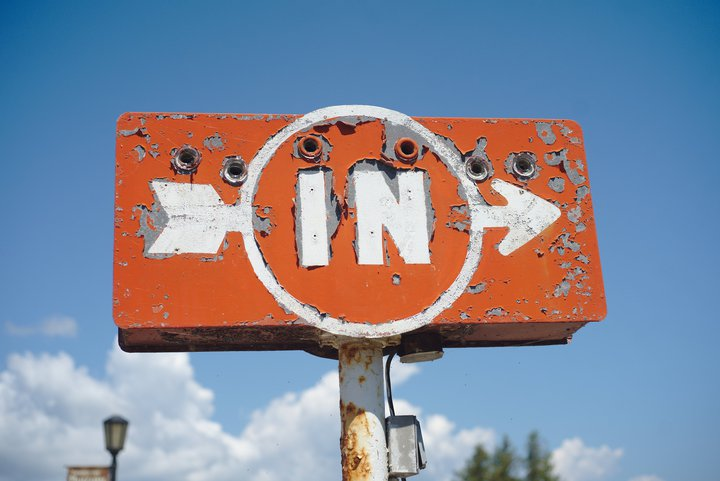 sign, st ignace, mi photographed by luxagraf