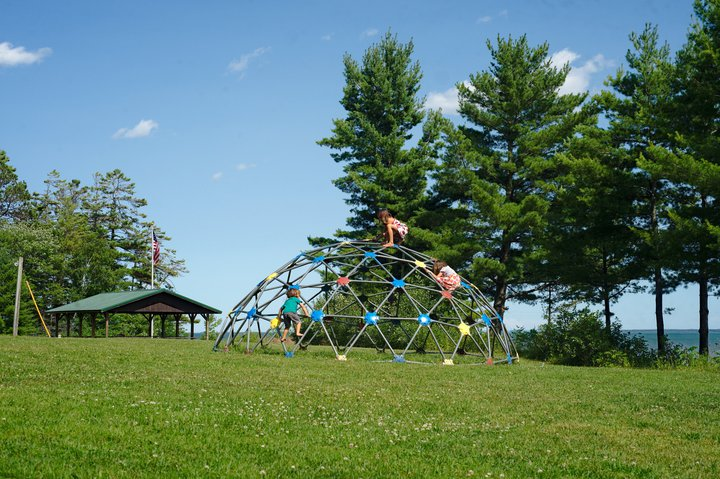 Playground, memorial park, washburn, WI photographed by luxagraf