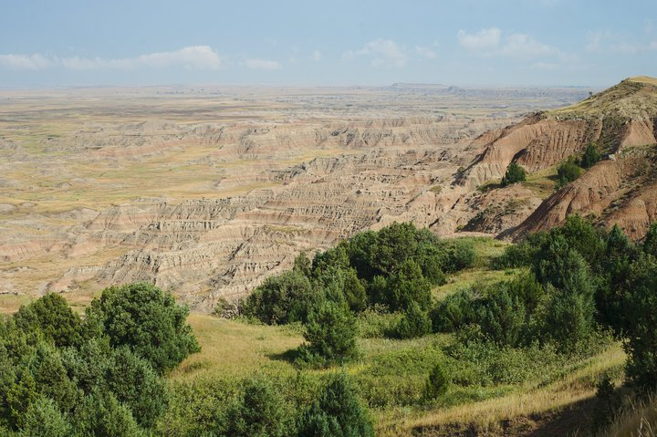 view of the badlands, buffalo gap national grasslands, wall, sd photographed by luxagraf