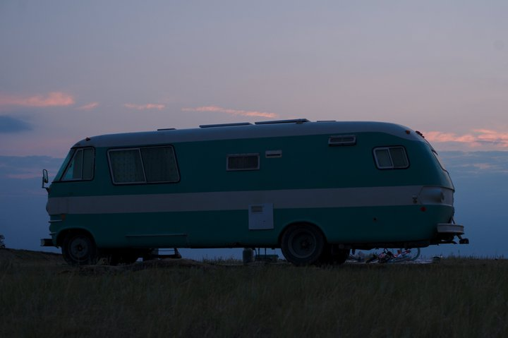 sunrise over the bus, buffalo gap national grasslands, wall, sd photographed by luxagraf