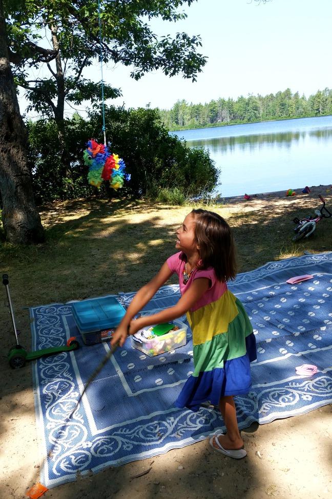 Pinata, Birthday at Andrus Lake, MI photographed by luxagraf