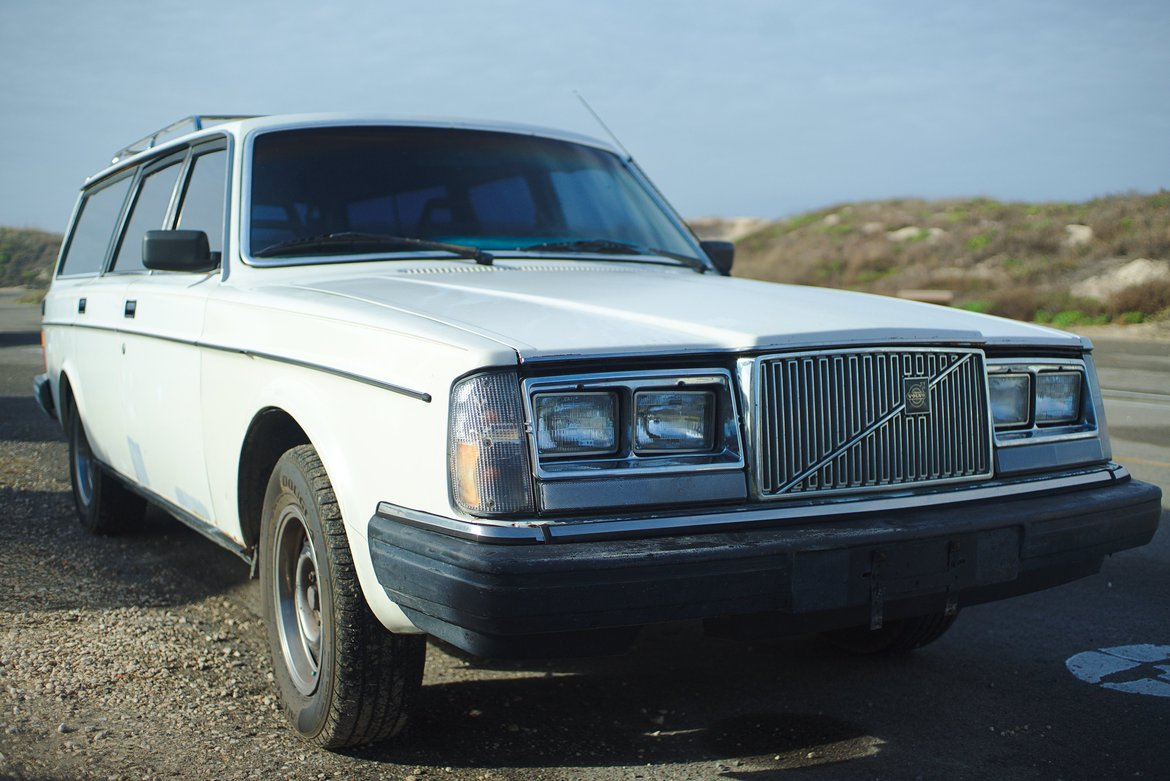 1983 Volvo 240 wagon, white photographed by luxagraf